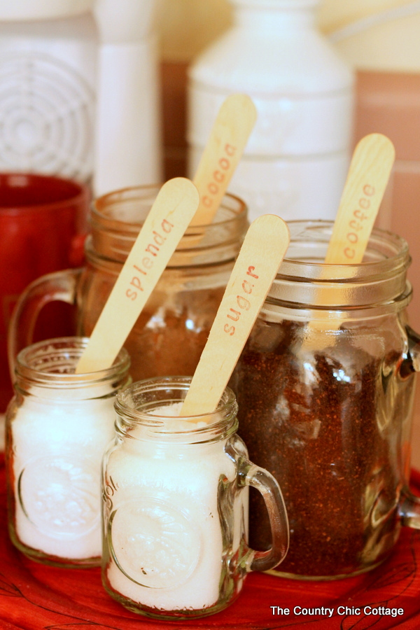 Mason jars hold coffee supplies for overnight guests.