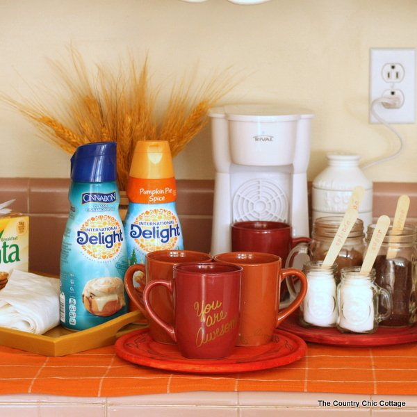 Coffee Nook for Fall Guests -- make your overnight guests feel at home by setting up this fun area for them!