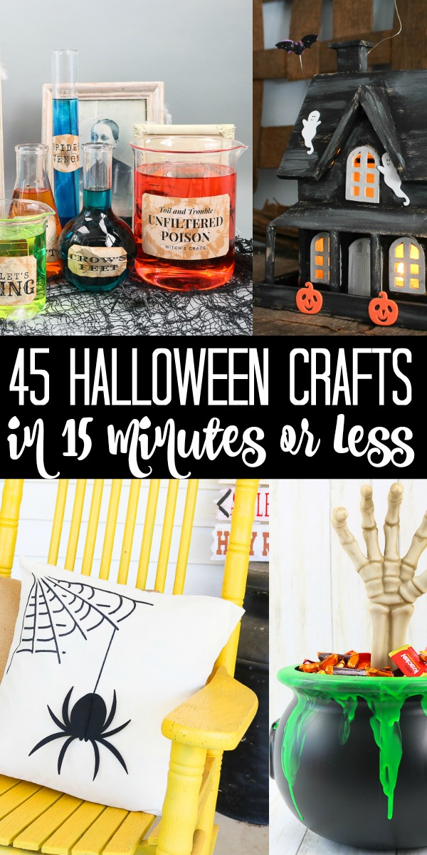 Over 45 ideas for easy Halloween crafts that you can make in 15 minutes or less! You will love having so many fall crafts to choose from this season! #halloween #easycrafts #quickcrafts #halloweencrafts