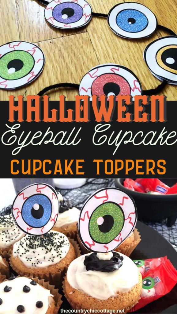 Make these eyeball cupcake toppers this Halloween for a spooky addition to your party! A cute idea that is easy to make with this free printable! #halloween #eyeball #party #cupcakes