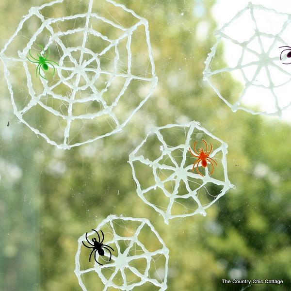 glow in the dark spider web window clings