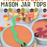 These Halloween mason jar toppers are the perfect way to celebrate the season! Make party favors or spooky decor with this idea! #halloween #party #partyfavors #masonjars