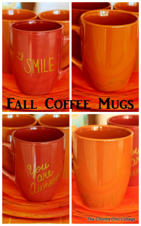Fall Coffee Mugs -- use a simple paint pen to make fall themed coffee mugs in minutes!