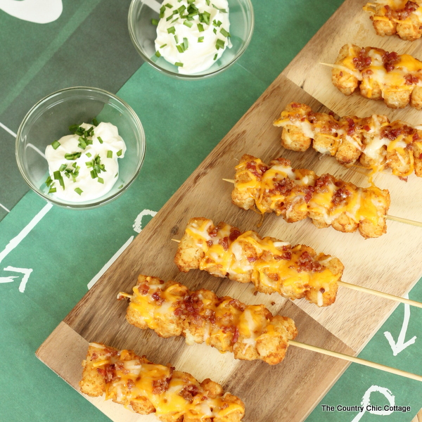 Loaded Tot Kabobs -- turn tater tots into perfect party food with this simple recipe!