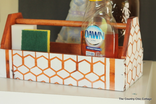 Painted Wood Caddy -- use a stencil and Decoart Chalky Finish paint to complete this look on any wood surface.