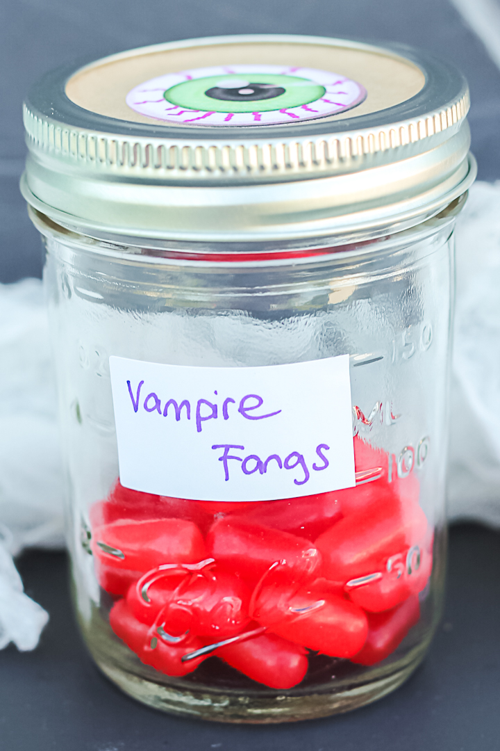 vampire fangs in a jar
