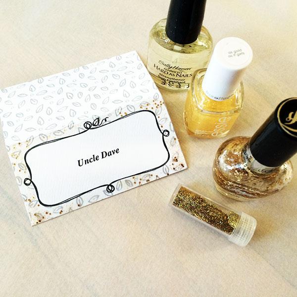i use glitter nail polish to add glitter!