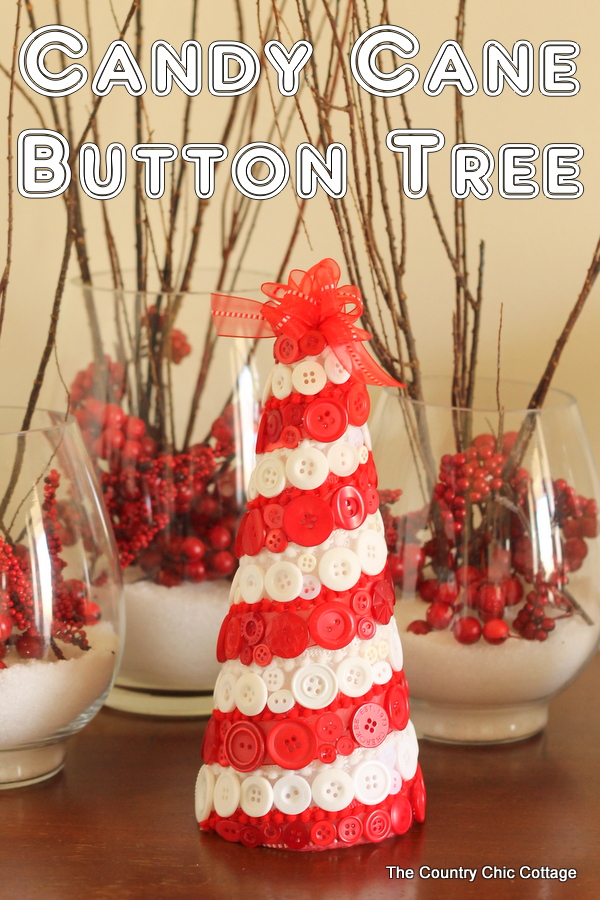 Candy Cane Button Tree -- make this fun striped tree for your Christmas decorating!