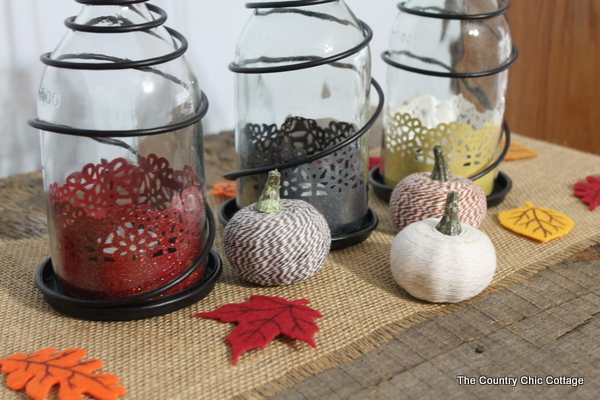 Fall Lantern Centerpiece -- a quick and easy way to add fall to the center of your table of any room in your home.