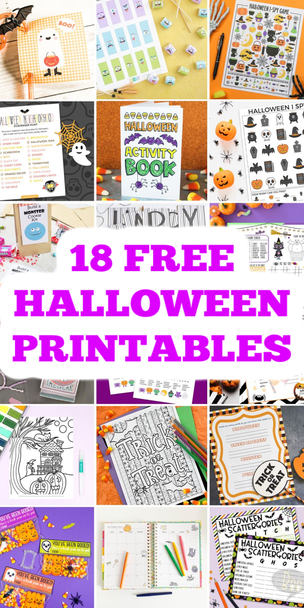 These 18 free Halloween printables are perfect for kids and adults! Print a few of these and have a spooky good time this Halloween! #halloween #printables #freeprintables