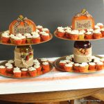 Make your own tiered fall dessert stand for Thanksgiving or fall parties. Can be made in 5 minutes!
