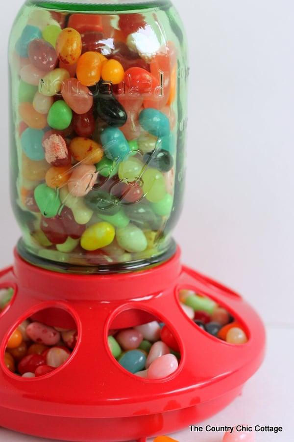 Mason jar candy dispenser gift assembled