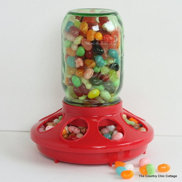 Mason Jar Candy Dispenser Gift -- a fun gift that you can make in just seconds!