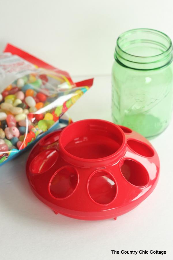 Supplies for mason jar candy dispenser