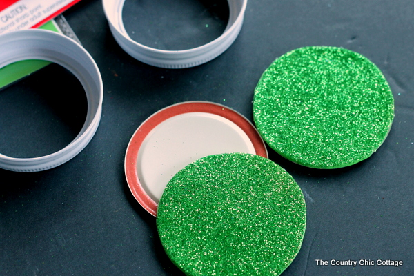 assembling Mason Jar Lid Ornaments