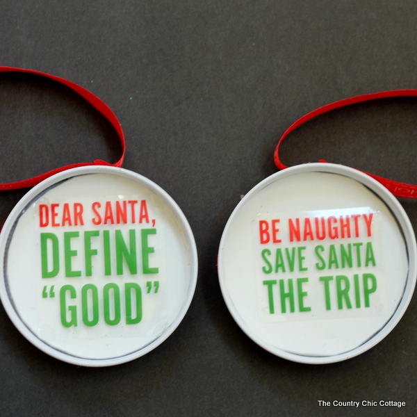 funny saying christmas ornament made from a mason jar lid