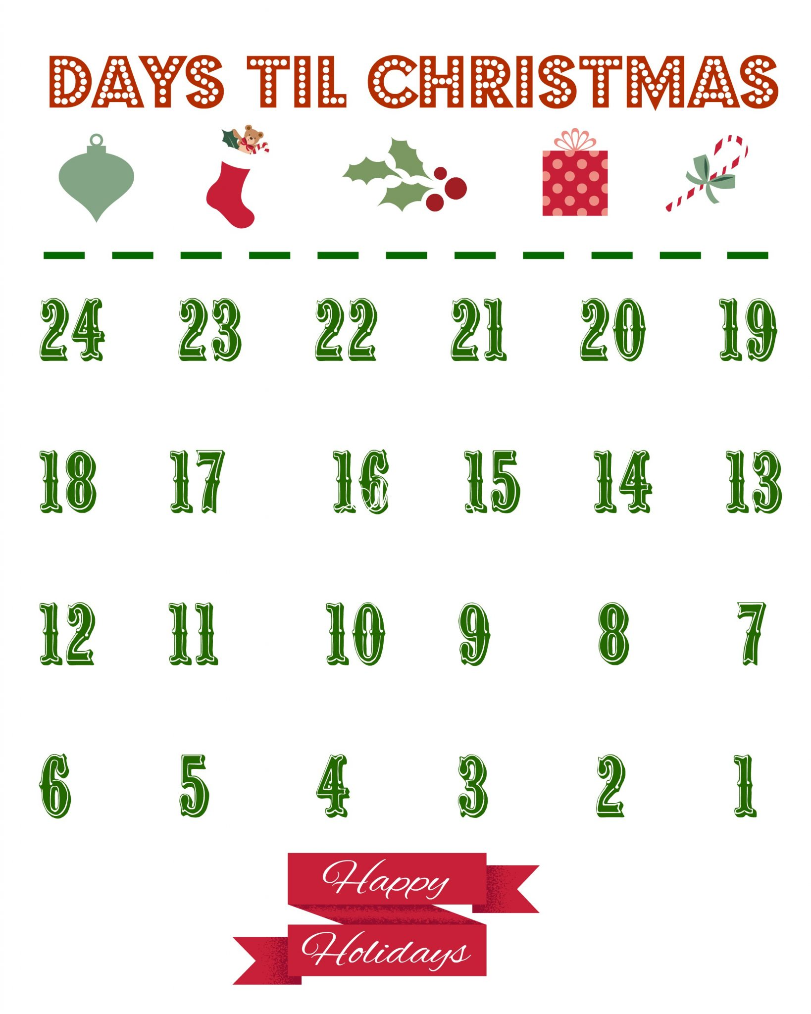 picture regarding Free Printable Advent Calendar Template titled Printable Xmas Countdown Calendar - The State Stylish