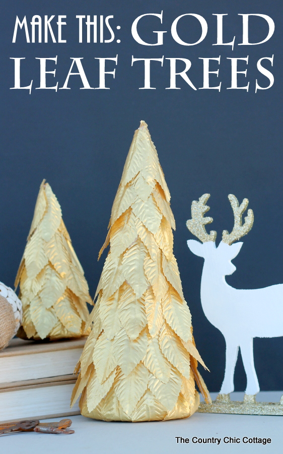 How to make these gorgeous gold leaf trees for your Christmas decor.