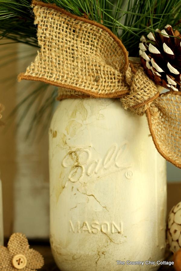 Gold Marbled Mason Jar -- add a marbled effect to a white mason jar for a fun fall or winter display!