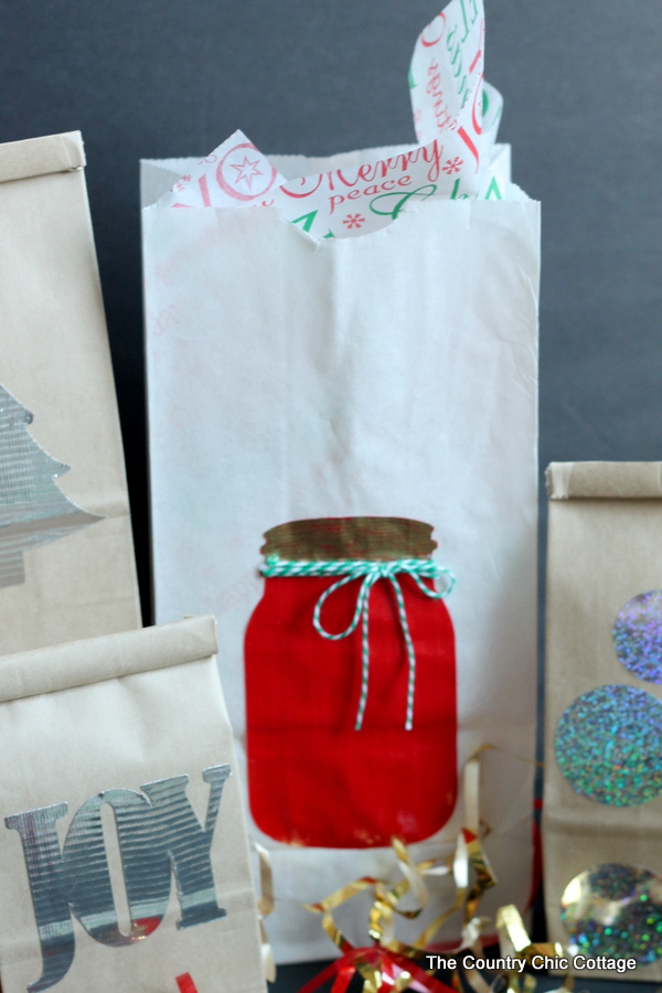 Holiday gift bags made with Duck Tape -- see how to make these in a how to video.