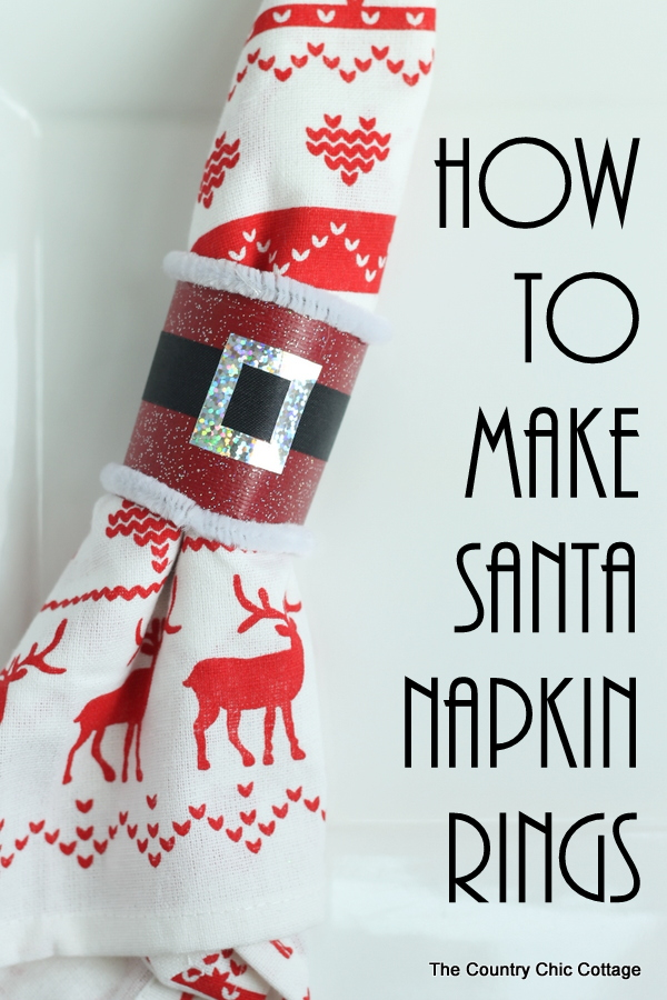 Make these Santa napkin rings in just minutes from a paper towel roll!  Click to see how!