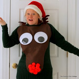 Make your own ugly sweater! This Rudolph sweater is easy to make and perfect for Christmas ugly sweater parties!