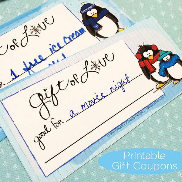 Write out the coupon messages on each printable coupon