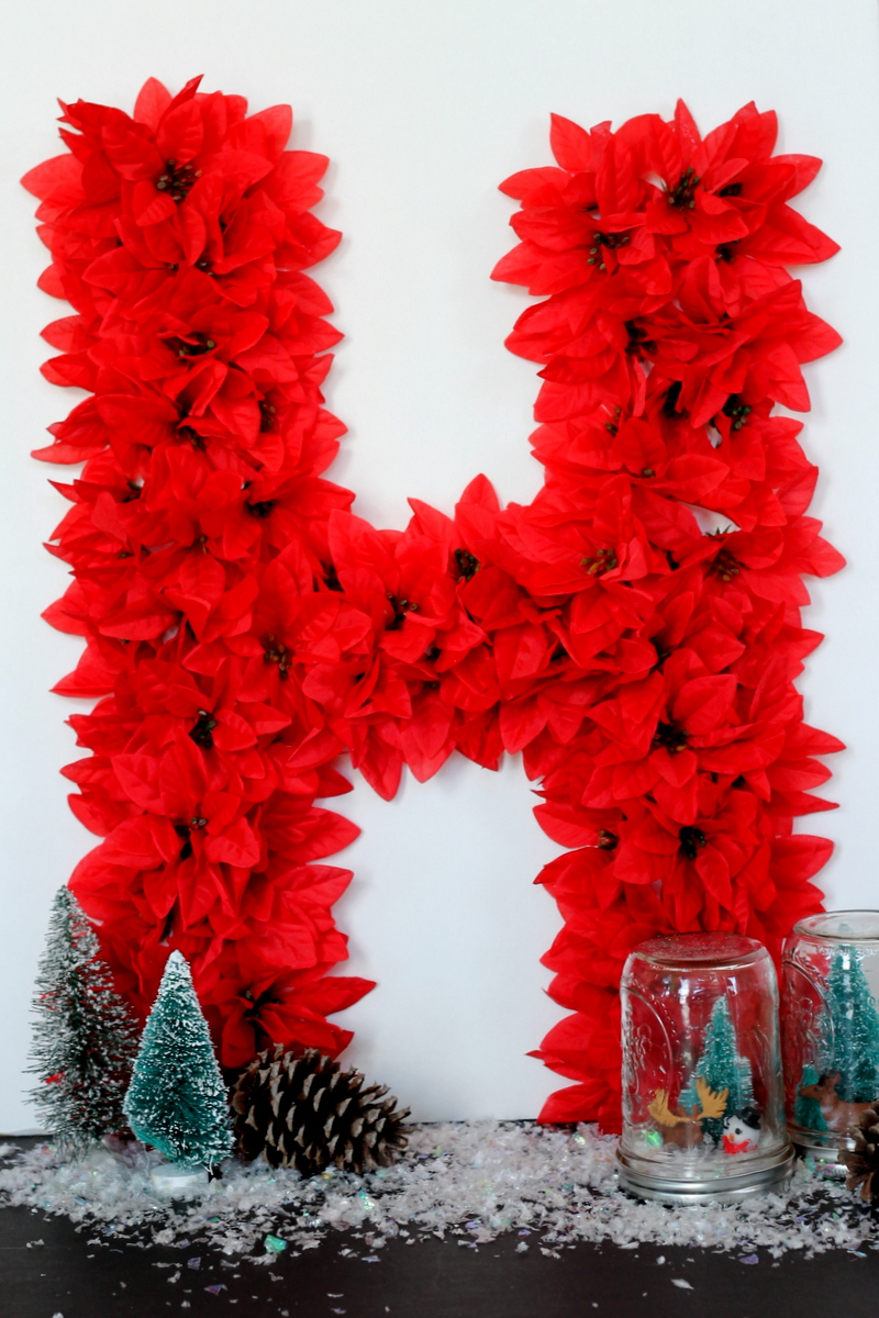 How to make a poinsettia monogram for your Christmas decor. Quick, easy, and inexpensive!