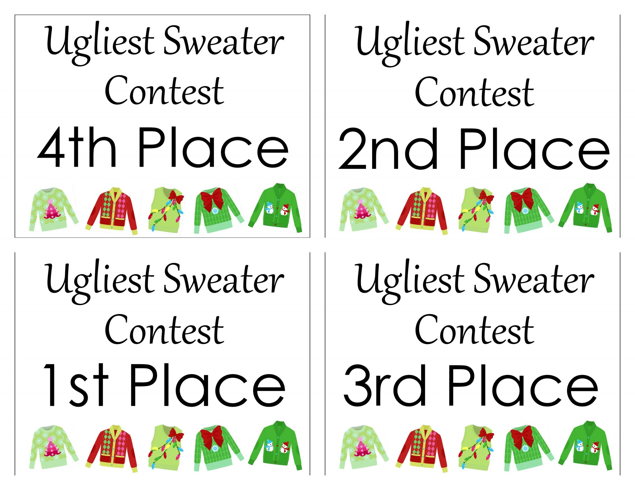 Ugly sweater party free printables the country chic cottage free printable party pack for your ugly sweater party grab invitations awards and more yelopaper