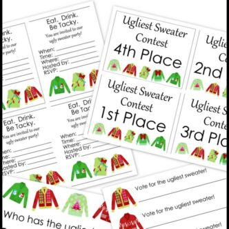 Free printable party pack for your ugly sweater party! Grab invitations, awards and more!