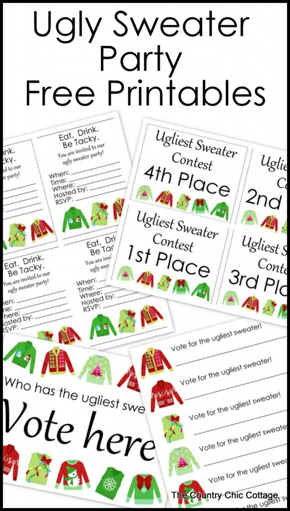 Ugly Sweater Party Free Printables - * THE COUNTRY CHIC ...