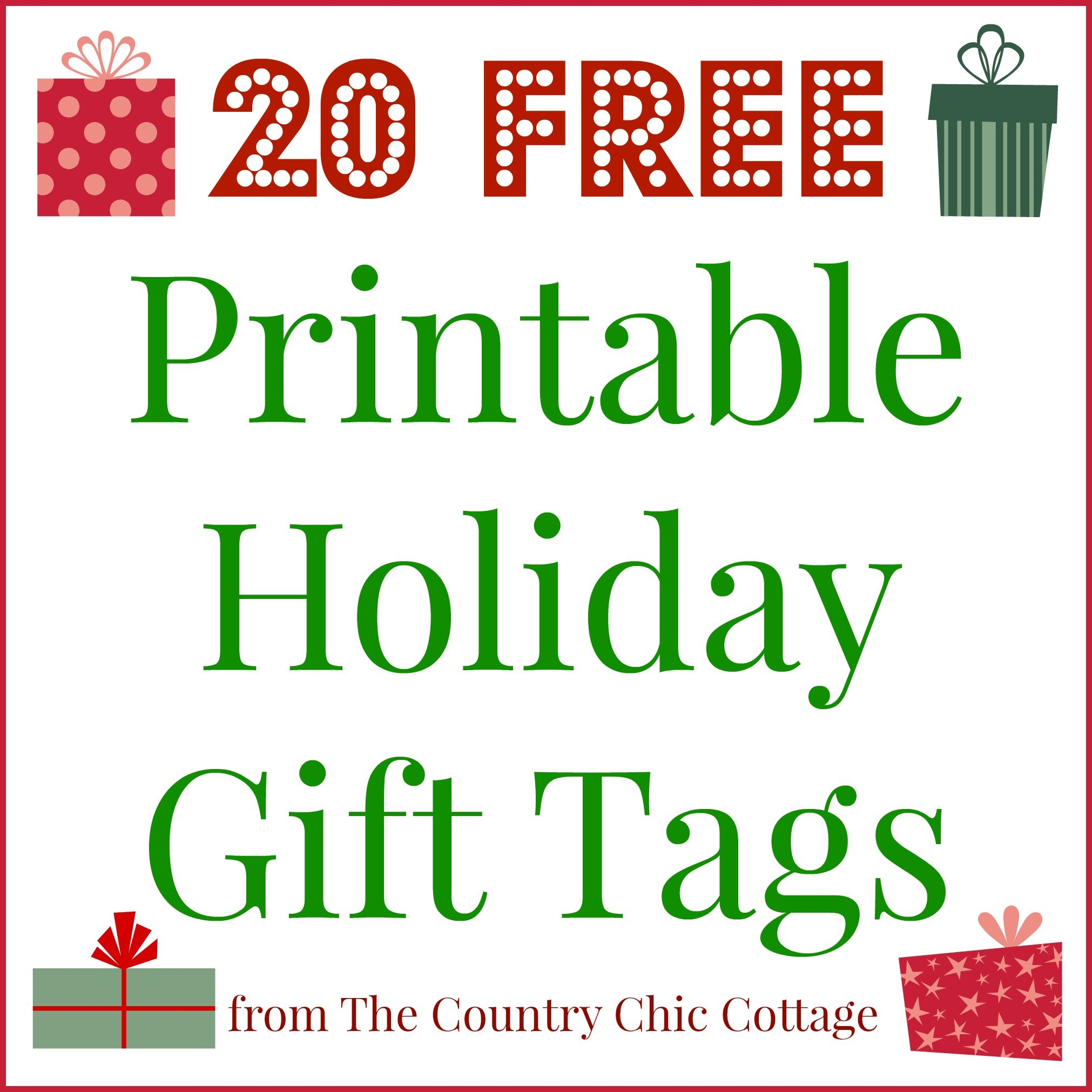 image relating to Free Printable Gift Tags Christmas called 20 Printable Family vacation Present Tags (FOR Free of charge!!) - The Region