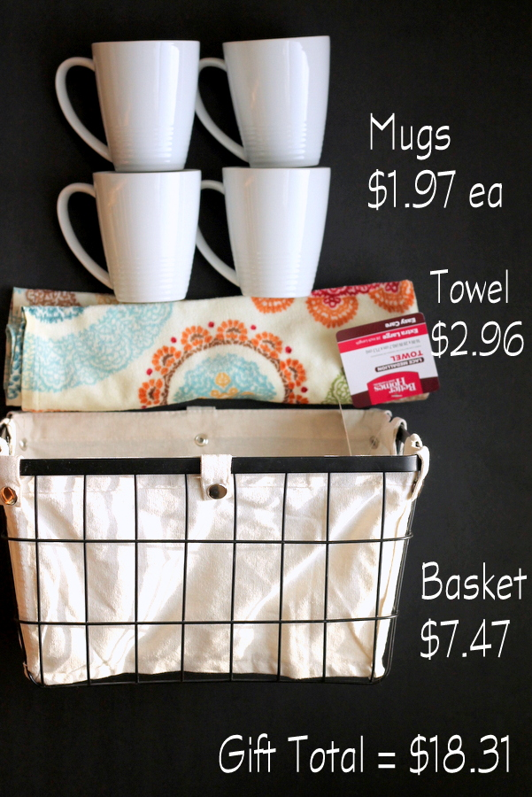 This gift idea is perfect for any coffee lover! It includes 4 kitchen coffee mugs, tea towels, and one basket that's perfect for kitchen organization