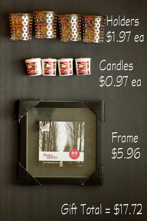 This affordable gift idea is perfect for any candle lovers! Four tea candles in pretty holders, and a picture frame as a tray
