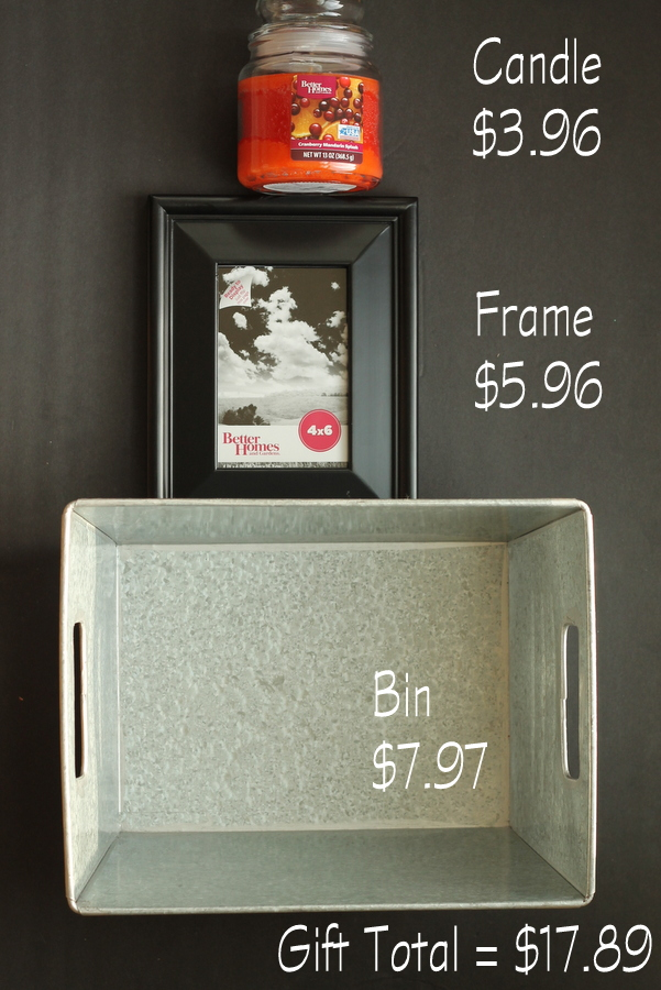 This gift idea is for anyone who loves home decor! A lovely fall scented candle, a simple picture frame, and a storage bin is a great gift for under $20