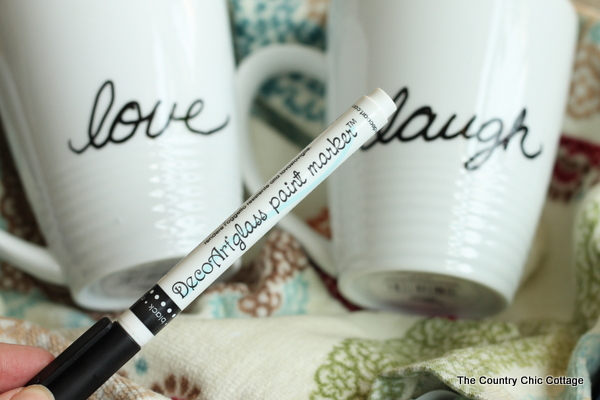 Use a glass paint marker to add a personalized touch to the coffee mugs in this kitchen enthusiast gift basket