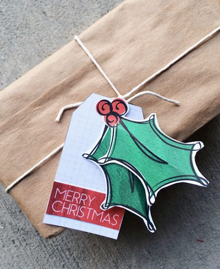 Make your own Christmas Holly gift tags designed by Jen Goode
