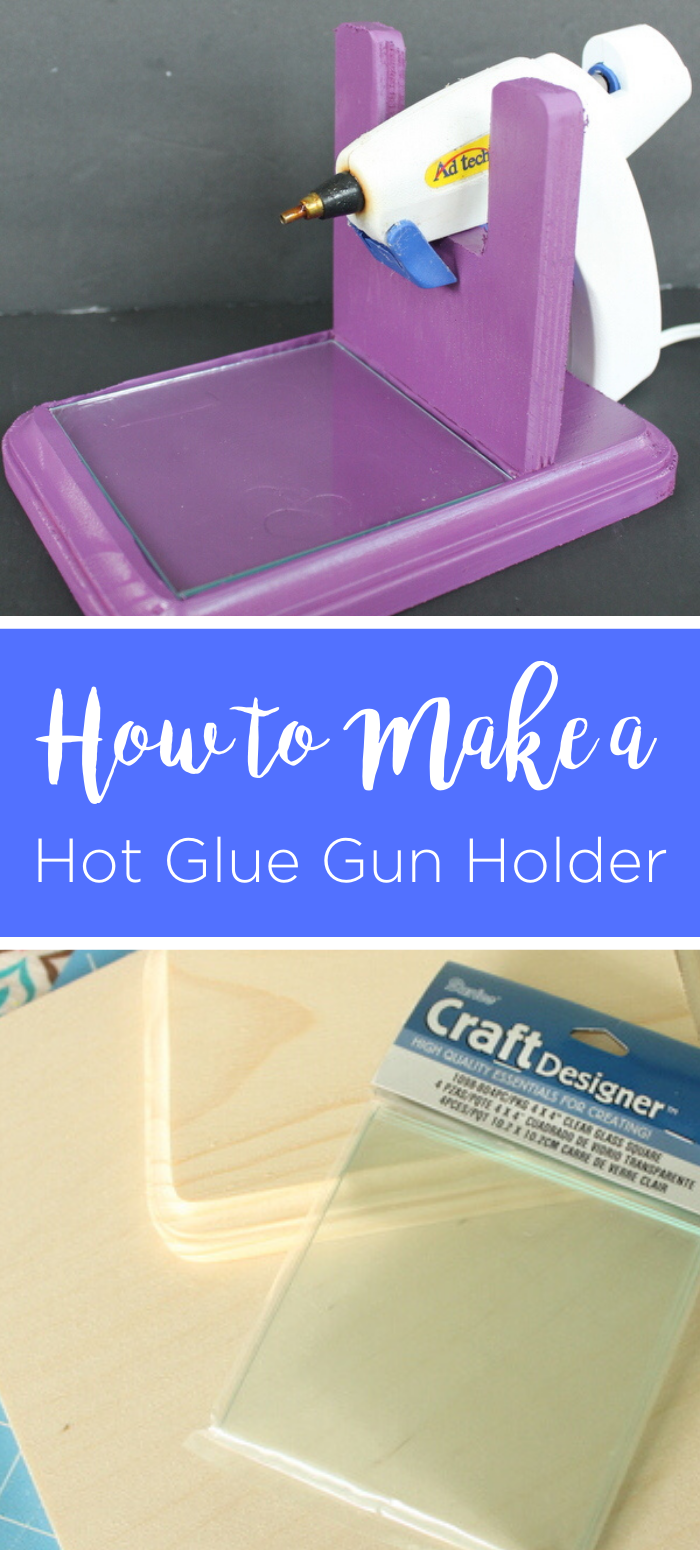 Learn how to make a hot glue gun holder from wood! This will keep your glue gun in place and even includes a glass tile to catch drips! #hotglue #hotgluegun #gluegun #crafts #crafty #craftroom #diy