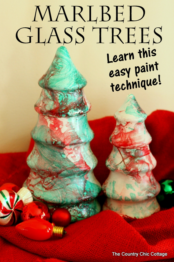 Marbled glass trees -- see how to use this easy paint technique to transform any surface!