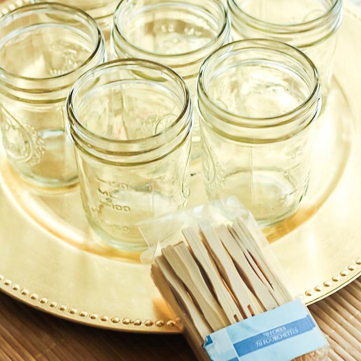 mason jars for a party tray