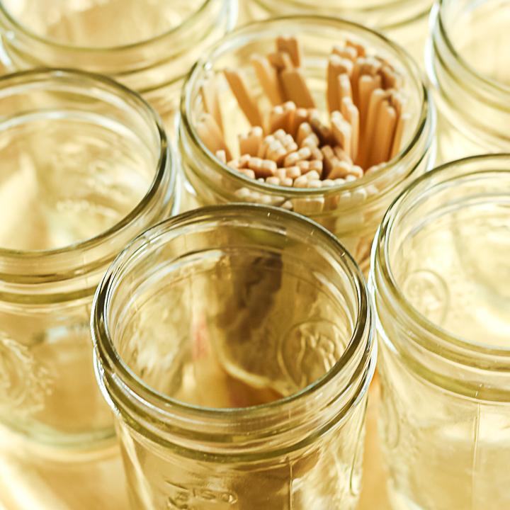 mason jars on a serving tray