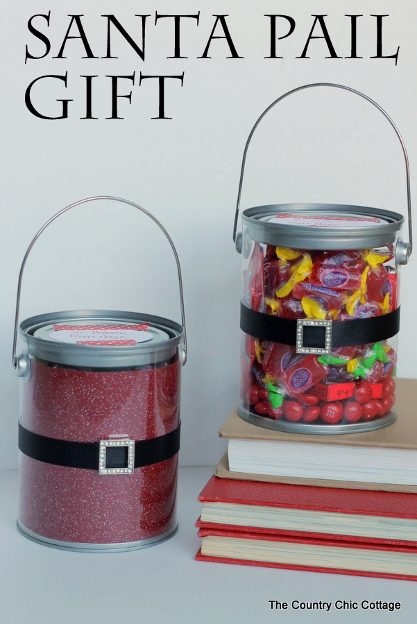 A gift idea you can put together in mintues!  Add red and a Santa belt to a pail this Christmas.