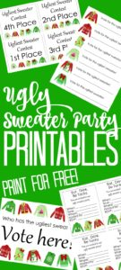 These ugly sweater party printables will be the hit of the night! Everything from invitations to ballots and awards that you can print for free! #sweaterparty #christmasparty #uglysweater #holidayparty #freeprintables #printables #free #inviations #party #partyprintables #christmassweater #holidaysweater #uglysweaterparty