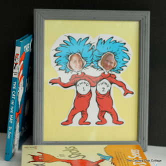 Make yourself or your child into thing 1 or thing 2 with this fun craft project. A quick and easy way to frame your face in a Seuss story!