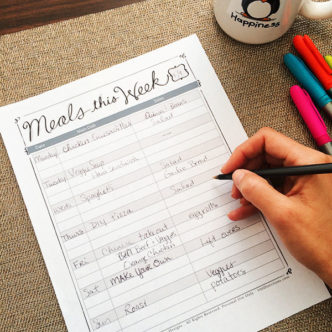 Printable Meal Plan to help you organize in the kitchen