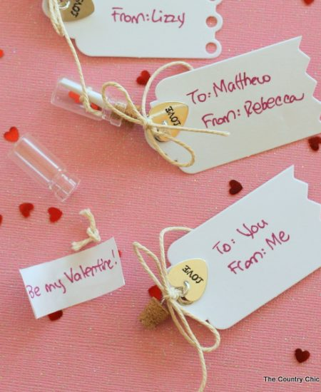 Give these message in a bottle valentines for Valentine's Day!