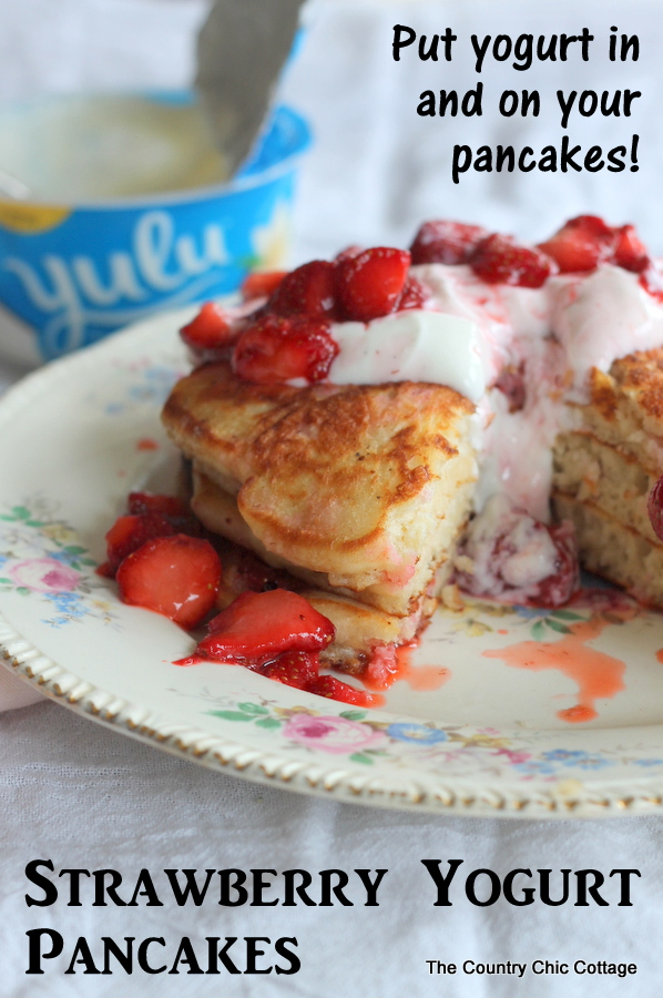 Strawberry Yogurt Pancakes -- use yogurt in and on top of your pancakes for a morning breakfast that will leave you feeling satisfied!