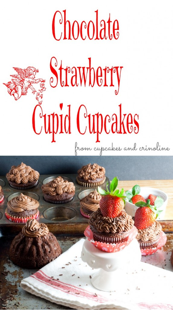 Chocolate and Strawberry Cupid Cupcakes