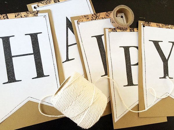 use twine to string letters into a banner
