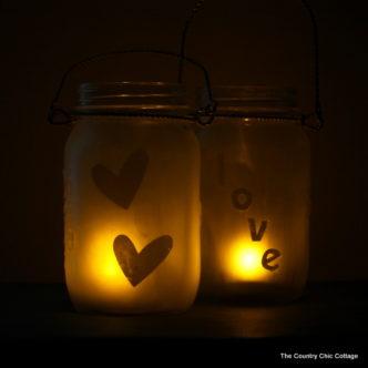 Glass Etched Mason Jar Lanterns